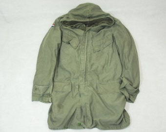 Vintage Dutch Military Green Canvas Winter Parka Coat With Removable Fleece Lining