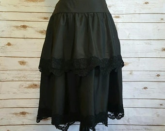 Vintage, 1980's, Victor Costa black lace tiered skirt, Size 6/8