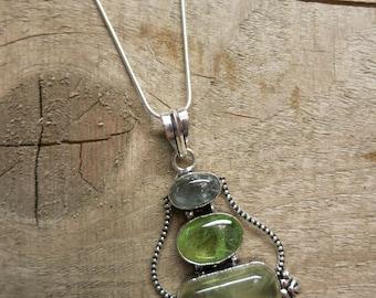 Prehinite, green amethyst and smokey quartz 925 silver pendant necklace.