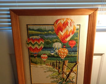 Vintage, Framed Crewel Embroidery, Hot Air Balloons Over Field