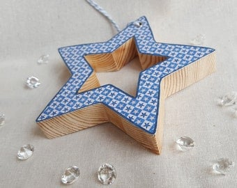 Wood decoupage star, Hanging star, Home decor, Wood decoupage star,