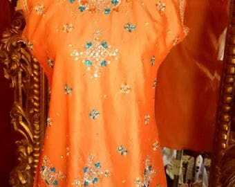 Vintage Indian Boho Tangerine Beaded Silk Tunic Top