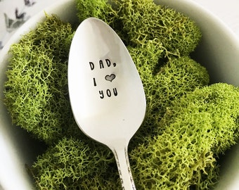 Dad, I love you Spoon, Hand Stamped Vintage Spoon, Father's Day Gift, Present, Birthday, Gift for Dad, Father, Ice Cream Spoon, Coffee Spoon