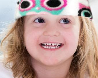 Owls, Toddler, Baby, Fleece Headband, Fleece, Ear Warmer, Medium, Warm Toddler Fleece, Earmuffs, Infant, Pink, Turquoise, Black, Owls Print