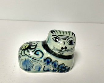Ceramic Green Blue Cat Figurine Oriental or Asian
