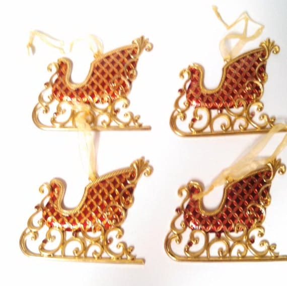 Brass Christmas Tree Ornaments Red Sleigh Set of 4