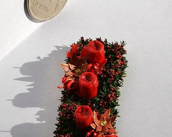 Dollhouse Miniature Christmas decoration ,Candles on the table , Scale 1 12, scale one inch, miniature Christmas, Dollhouse Christmas tree.