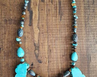 Turquoise Stone Rock Necklace