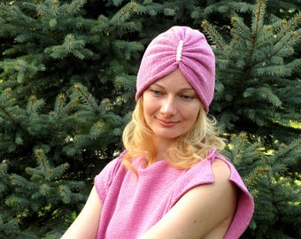 Women pink turban head turban cotton turban headwrap chemo turban summer head wrap hair turban cancer hat chemo hat chemo cap chemo headwear