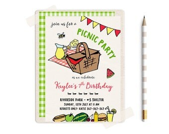 Picnic Invitations, Picnic Birthday Invitation, Picnic Birthday Party, Picnic Birthday Invites, Picnic invites, Picnic Birthday Invite,