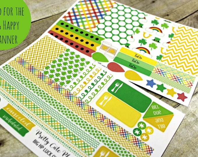 BIG Happy Planner Planner Stickers - Weekly Planner Sticker Set - Happy Planner - Day Designer - Functional stickers - Luck of the Irish
