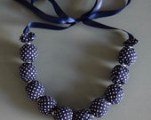 Polka dot Fabric necklace - navy and white fabric - jewellery - beautiful - Handmade - gift - for her