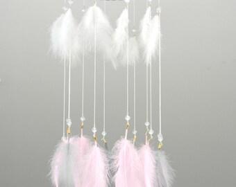 Dreamcatcher Mobile,Dream Catcher Mobile,Feather Baby Mobile, Boho Mobile,Baby Shower,Baby Girl,Crib Mobile,Nursery Mobile,Baby Room