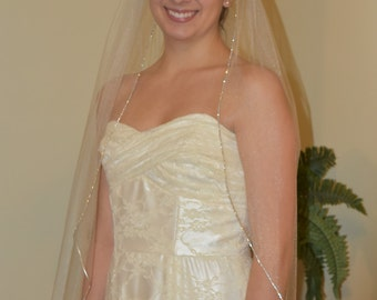 Bridal Veil/Wedding Veil/Ivory, White, or Blush Tulle Veil/Single Tier/Fingertip Length/Rhinestone Edging