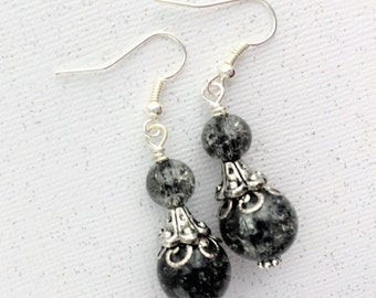 Gothic Wedding Earrings, Bridesmaid Black Earrings, Goth Black Earrings, Gothic Bridal Earring, Silver Black Ornate Earring, Bridesmaid Goth