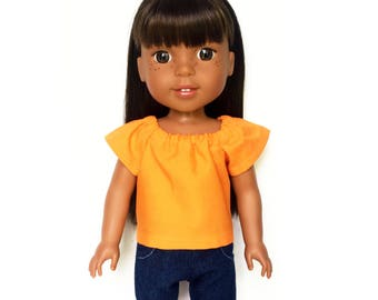Peasant Top, Orange, 14.5 inch, Fits dolls such as AG Wellie Wishers Doll Clothes, Free Mini Skirt with the Purchase of 3 WW Peasant Tops
