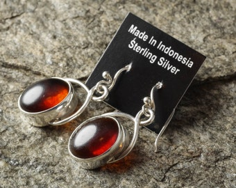 4cm Sterling Silver Bezel Set Natural Amber Earrings - Silver Jewelry Amber Cabochon Drop Earrings J760