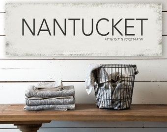 Nantucket Massachusetts Wall Canvas, Nantucket Vintage Island Canvas, Printed on Canvas, Vintage Wall Decor, Vintage Wall Art