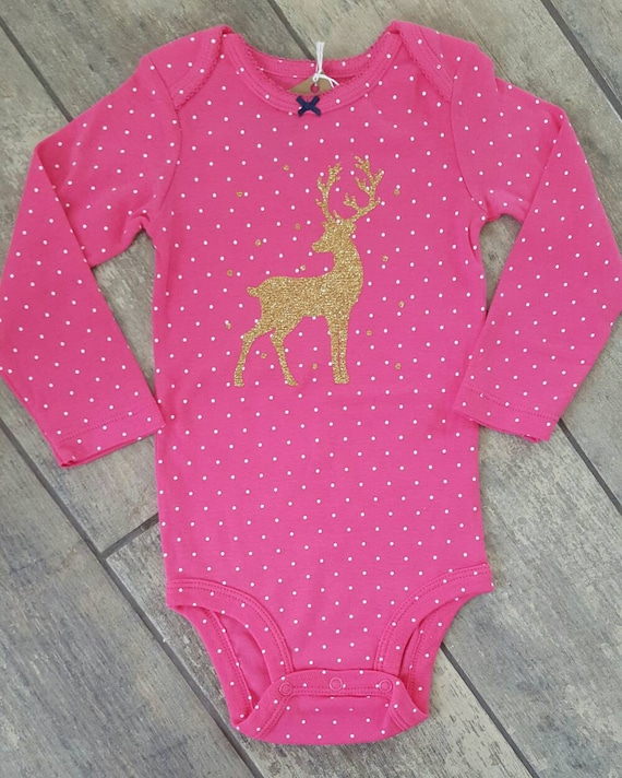Deer/Buck Silhouette - baby girl onesie - limited edition - ONE OF A Kind onesie colour - baby accessories - size 18 months