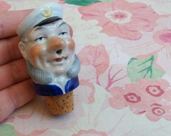 Vintage 1950s Ceramic Sailor Sea Captain Bottle Stopper - Porcelain Cork Stopper numbered 1266 - Kitsch Breweriana