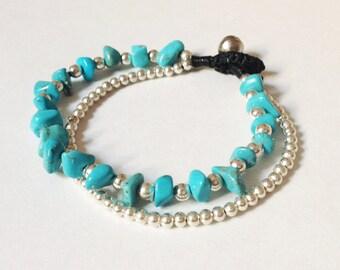 2 Strand bracelet Turquoise bracelet Silver bead bracelet Wax cord bracelet Friendship bracelet