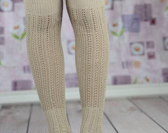 Beige Open-Toe Yoga/Dancers Boot Socks