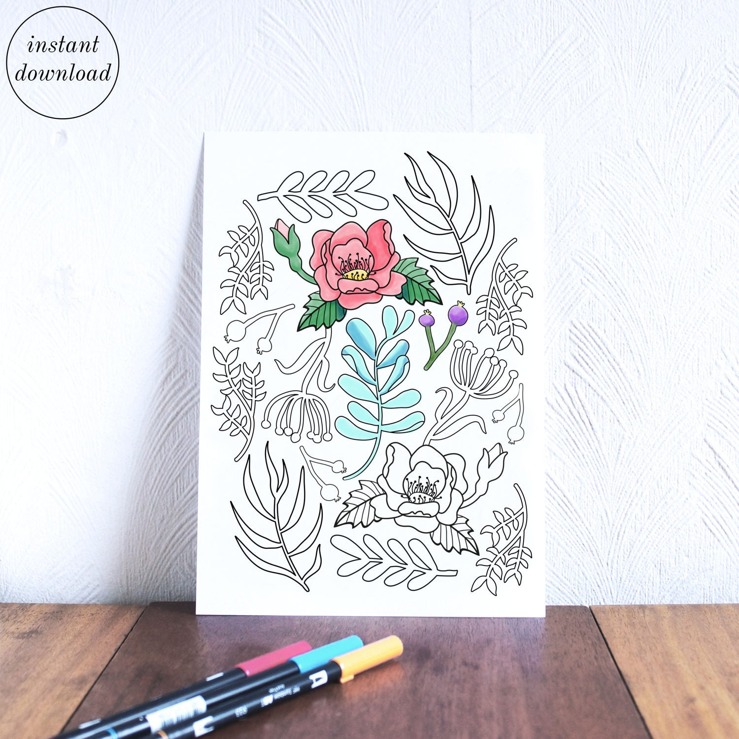 Botanical art coloring book - This Is A Digital File