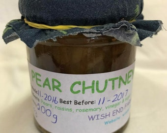 Pear Chutney 200g (7oz) Jar,Food Gift, Birthday Gift, Gifts for him, Easter Gift, Hostess Gift, Fathers Day Gift, Teacher Gift