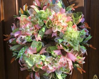 Hydrangea Wreath -Front Door Spring Wreath - Spring Floral Wreath - Spring Deco Mesh Wreath - Front Door Hydrangea Wreath - Easter Wreath