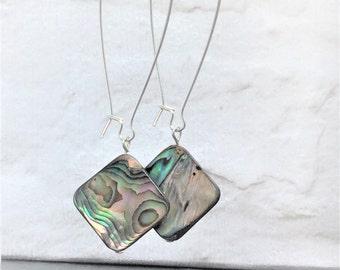 Beach earrings, dangle earrings, summer earrings, beach earrings, abalone shell earrings, boho earrings, shell earrings, drop earrings
