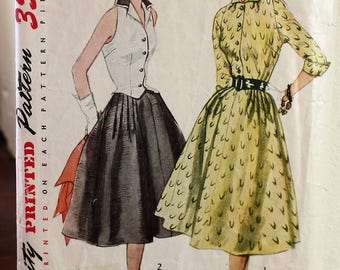 1950's Original Sewing Pattern, Dress, Blouse, Bust 34""
