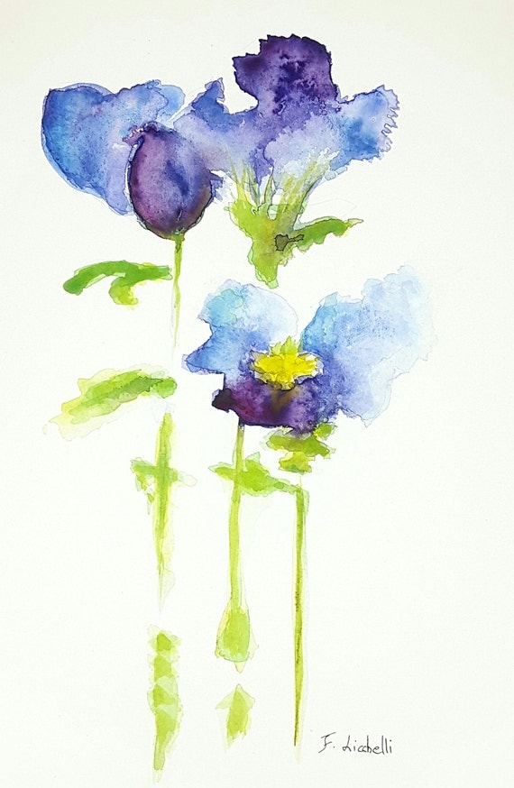 Blue flowers,purple,watercolor,ooak,23x31 cm./9x12 inc.,gift idea, wall art, home decoration, lounge,nursery,living,bedroom,watercolor art.
