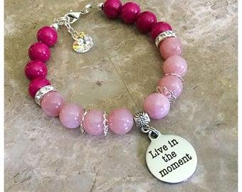 Live In The Moment Beaded Charm Bracelet, Beaded Bracelet, Charm Bracelet, Inspirational Bracelet, Gemstone Bracelet
