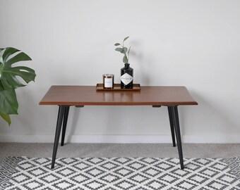 Mid Century Teak Coffee Table, Upcycled With Black Painted Tapered Legs.  Vintage