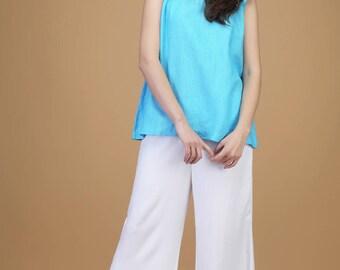 Cool linen top with baby frills | top, linen top, comfy top, long top, loose top, pleated top, linen blouse, summer top, linen dress