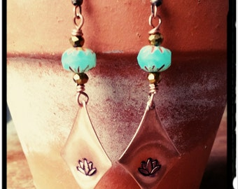Copper Lotus - Long Hand Stamped Earrings//Sky Blue Czech Bead//Fire Polished Gold Beads//Dangle Earrings -  Bohemian//Gypsy//Hippie Chic