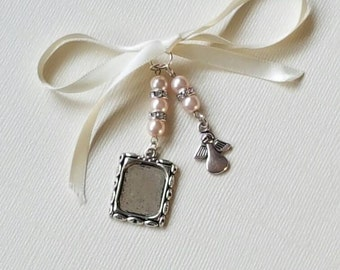 Wedding Bouquet Photo Frame Charm Silver Oblong Locket and angel charm with pale pink pearls and pretty organza gift bag