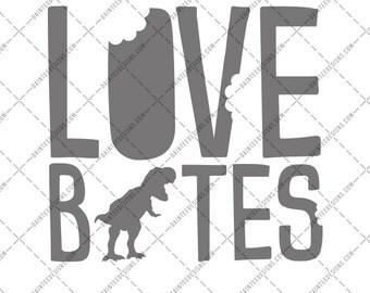 Love Bites - SVG DXF Png Eps File Dinosaur Dino Trex Valentine's Day Valentines Boys Cute Cutting Silhouette Cricut Digital Son Baby Cupid