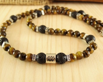 Aquarius necklace Tiger eye necklace Aquarius zodiac sign necklace zodiac gifts Celestial jewelry Birthday necklace Protection necklace for