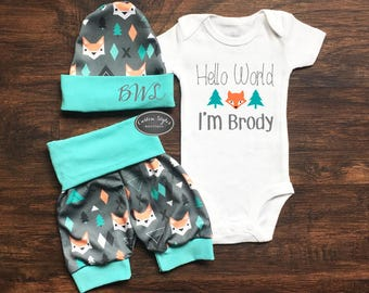 SALE ENDS 7/30 11PM Baby Boy Coming Home Outfit, Hello World, Custom Name, Teal And Gray Fox Print Shorts And Hat, Baby Boy Shorts, Hospital