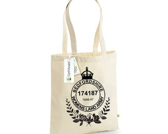 Personalised Womens Land Army Tote Bag, 100% Organic Cotton Canvas, Land Girls, WW2, Vintage, WLA
