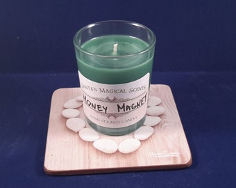 Spell candle Money magnet, money drawing candle, handmade soy wax spiritual candle, votive candle