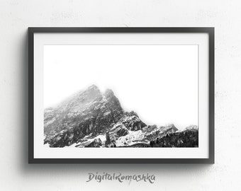 Minimalist Art, Mountain Print, Modern Art Print, Nordic Art, Printable Art, Black and White Photography, Nature, Monochrome, Wall Decor