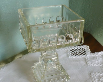 Vintage Square Clear Glass Pedastal Dish, 5 inches square bowl, 7 inches tall