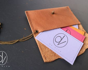 Leather Creditcard holder with chain and hook to hang inside the bag.