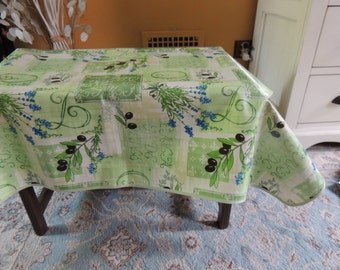 FRENCH PROVENCAL OilCloth Tablecloth, Stain Resistant, Indoor-Outdoor Tablecloth
