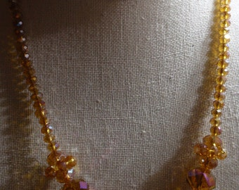 Amber Crystal AB necklace
