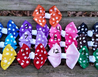 Polka-Dot Hair bows (3.5 inch)