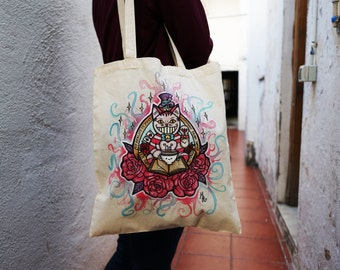 Hand Painted Tote Bag Cheshire Cat