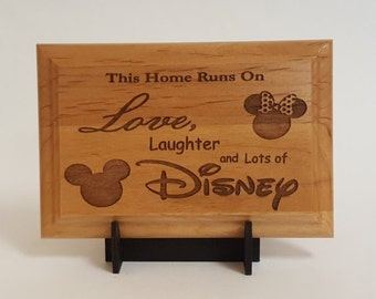 "This Home Runs On Disney- Engraved Wood Plaque, 4"" X 6"""